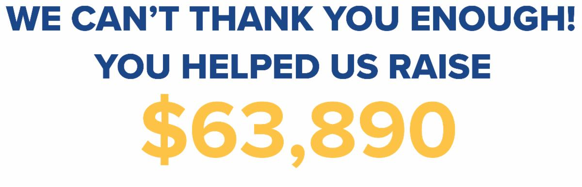We can't thank you enough! You helped us raise $63,890!